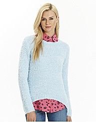 Fluffy Jumper with Dipped Hem