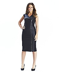Pu Look Trim Biker Dress