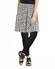 Monochrome Print Jersey Skater Skirt