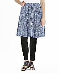 Blues Print Jersey Skater Skirt