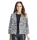 Animal Flocked Print Biker Style Jacket