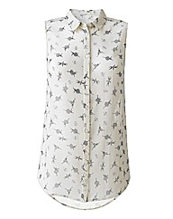 Ballerina Print Shirt With Dipped Hem