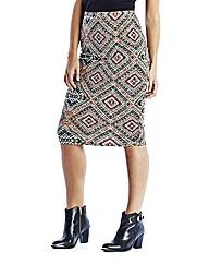 Aztec Jersey Tube Midi Skirt
