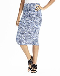 Blue Jersey Midi Tube Skirt