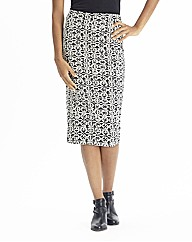 Monochrome Jersey Tube Midi Skirt