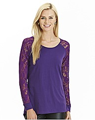 Lace Sleeve Jersey Top