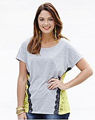 Lace Trim Dipped Hem Jersey Top