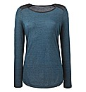 PU Trim Long Sleeve Jersey Top