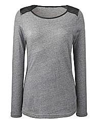 PU Trim Long Sleeve Jersey Top