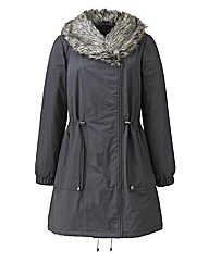 Biker Parka Coat with Fur Trim and Hood