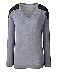 PU Trim Sweater