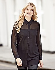Sheer Panel Longsleeved Shirt