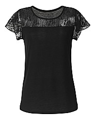 Lace Frill Sleeve Jersey Top