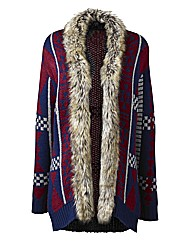 Fur Trim Aztec Cardigan