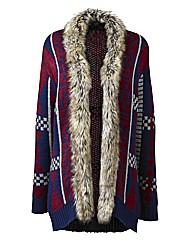 Fur Trim Aztec Cardigan