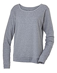 Body Star Velour Crew Neck Top