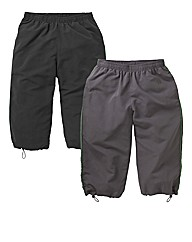 JCM Sports Pack of 2 Woven 3/4 Joggers