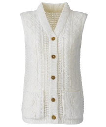 Knitted Waistcoat With Cable Pattern