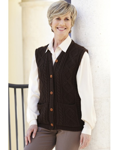Image of Knitted Waistcoat With Cable Pattern