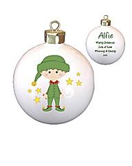 Personalised Christmas Elf Bauble