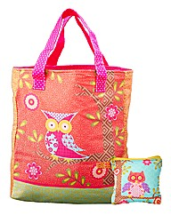 Funky Owl Shopping Bag & Purse