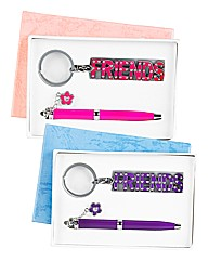 Set of 2 Friends Pen & Keyring Sets