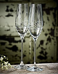 Dartington Crystal Pair Of Glitz Flutes