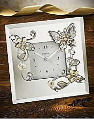 Glass Butterfly Mantel Clock