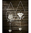 Set Of Two Owl Heart Hangers