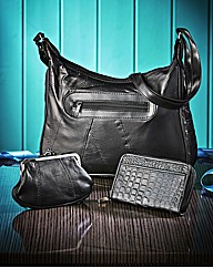Black 3 Piece Leather Bag Set