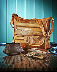 Tan 3 Piece Leather Bag Set