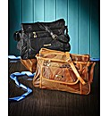 Black & Tan 2 Piece Leather Bag Set