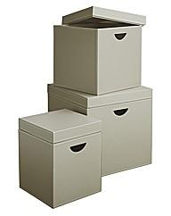 Set of 3 Cubes with Flush Lids