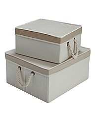 Foldable set of 2 Boxes with Lids