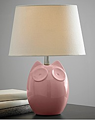 Hector Owl Table Lamp Pink