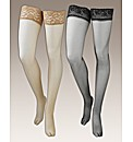 2 Pack 15 Denier Lace Top Hold Ups