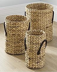 Water Hyacinth Set of 3 Baskets