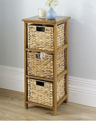 Three Draw Storage Unit with Wood Frame