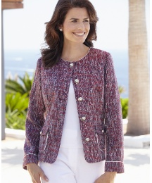 Boucle Jacket With Trim To Neck And Cuff