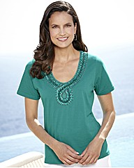 Jersey Top With Bead Detail To Neckline