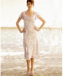Print Dress Cowl Neckline Length 48in