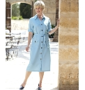 Button Through Belted Dress Length 45in