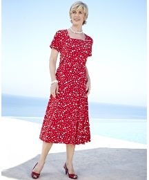 Spot Dress With Square Neck Length 45in