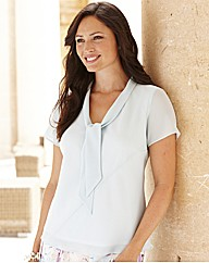 Plain Blouse With Tie Detail To Neckline