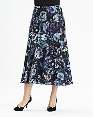 H&O Print Skirt With Satin Trim 32in