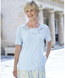 Short Sleeve Jersey Top With Neck Detail