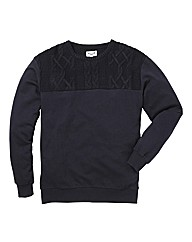 Label J Knitted Panel Crew Neck Sweat L