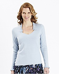 H&O Sweater with Ruffle Trim to Neckline