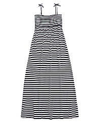Shirred Striped Jersey Maxi Dress