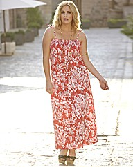 Shirred Print Jersey Maxi Dress